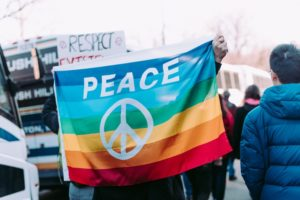 rainbow flag with peace sign